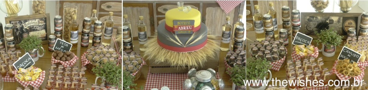 decoracao de boteco para aniversario: temático que incluia lanchinho de pernil e caldinho de feijoada